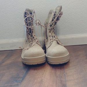 Steel Toe Military Combat Boots - Tan
